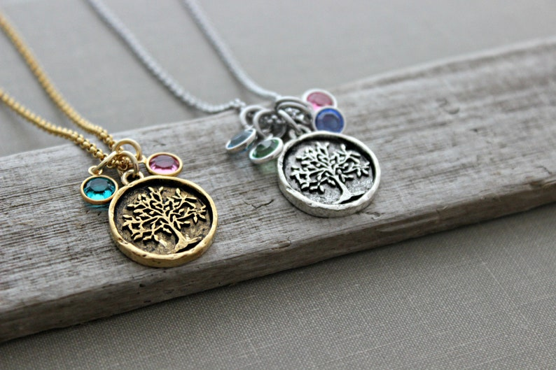 Rustic Family Tree necklace  Grandma Jewelry  gold or silver image 0