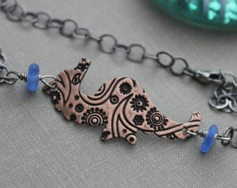 Seahorse bracelet , Copper seahorse charm with cornflower blue sea glass - sterling silver bracelet chain - mixed metal jewelry -