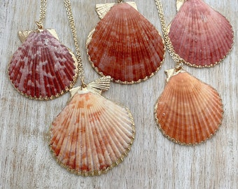Gold dipped seashell necklace - choice of one - scallop shell - Pink, purple, orange natural tan Beach necklace, pink shell - boho