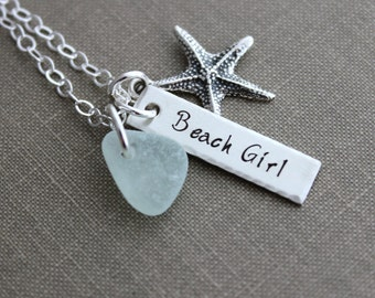 Genuine Sea Glass Beach Girl Necklace - Personalized Choice of Color - Sterling Silver Starfish - SeaGlass Hand Stamped rectangle bar Beach