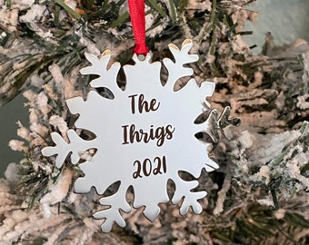 Personalized Snowflake Ornament - Christmas Tree Ornament - Silver Stainless steel - Personalized Year Date and Family Last Name engraved