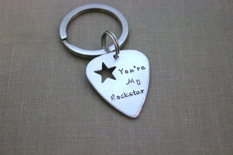 You're My Rockstar keychain  silver aluminum guitar pick image 0