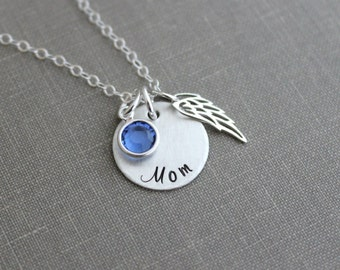 Sterling silver angel wing memorial necklace with name or Mom, Swarovski Crystal Birthstone, Loss Sympathy necklace, Remembrance  Necklace