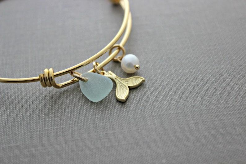 mermaid tail bracelet  genuine sea glass  white freshwater image 0