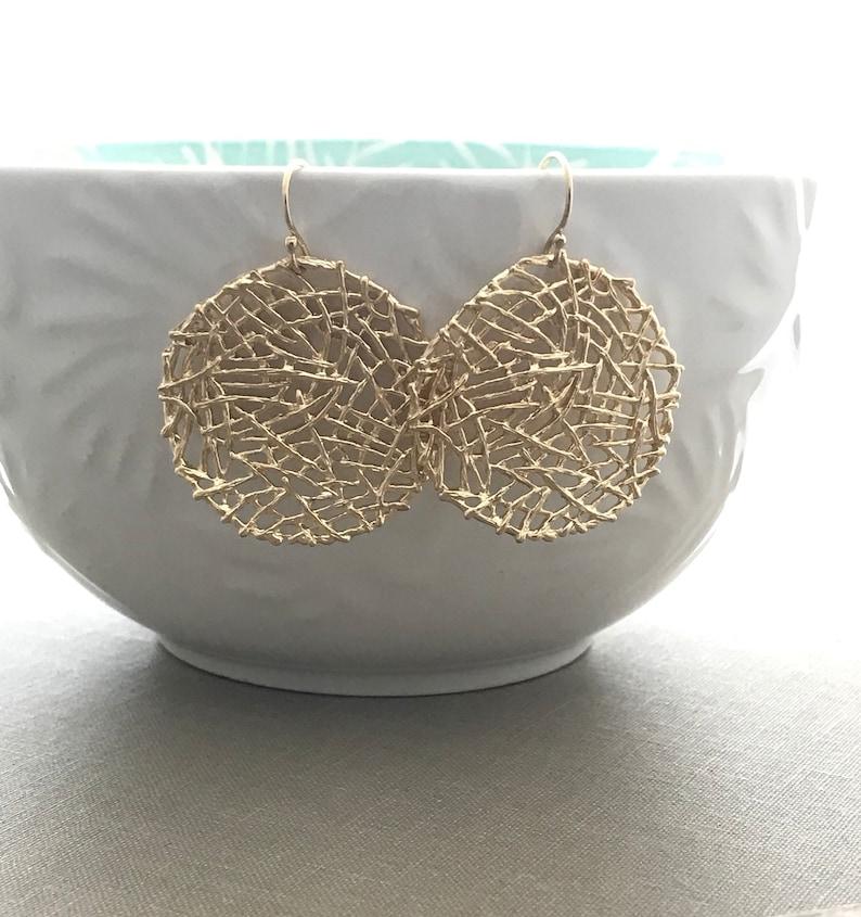 Golden Mesh Nest Earrings  Large circle dangle earrings  14k image 0