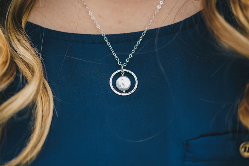 Eternity Circle necklace with White Freshwater Coin Pearl image 0
