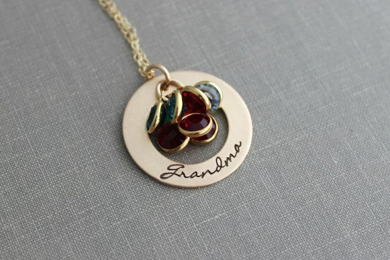 Hand Stamped Bronze Grandma Washer Necklace  14k Gold filled image 0