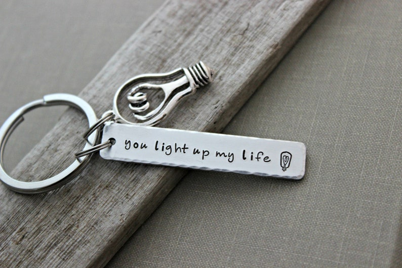 You light up my life aluminum silver Hand Stamped Keychain image 0
