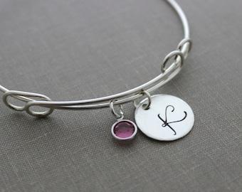 925 Sterling silver adjustable initial wire bangle bracelet with hand stamped Fancy monogram disc, Swarovski crystal birthstone charm