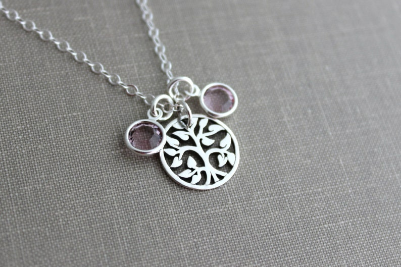 Sterling silver family tree necklace with sterling silver image 0