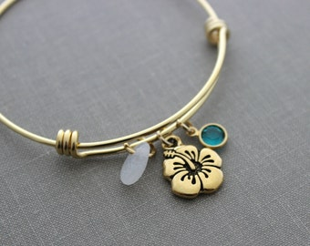 gold stainless steel adjustable beach bangle bracelet - Tropical hibiscus flower charm, genuine sea glass and Swarovski birthstone, Hawaiian