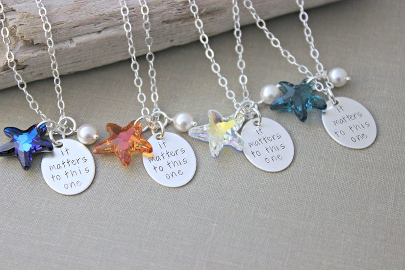 187a457d8d25f It Matters To This One, Swarovski Crystal Starfish Necklace Hand Stamped  Sterling Silver Pearl, Starfish Poem, Choice of color Orange Blue