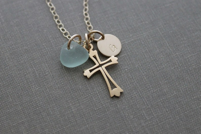 Personalized Charm Necklace with Gold Plated Cross Genuine image 0
