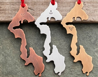 Whidbey Island Ornament - Christmas Tree Ornament - Silver Aluminum or Rustic Copper - Hometown - Washington