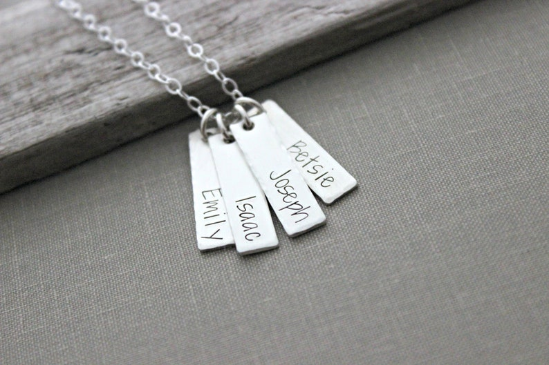 Sterling Silver Name Necklace   Four 4 Rectangle Bar Charms  image 0