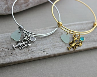 Lobster charm bracelet, stainless steel or gold adjustable beach bangle bracelet  genuine sea glass and Swarovski crystal birthstone, Maine