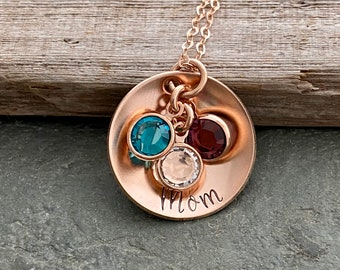 14k Rose gold filled cupped disc necklace with Swarovski Crystal Birthstone Charms - Christmas gift for mom -  Personalized name Gift