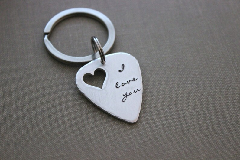I love you keychain  silver aluminum guitar pick  hand image 0
