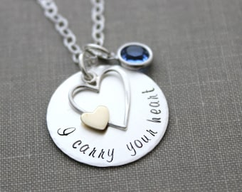 I carry your heart, Sterling silver memorial necklace with bronze gold heart, Swarovski crystal birthstone, personalized, customized jewelry