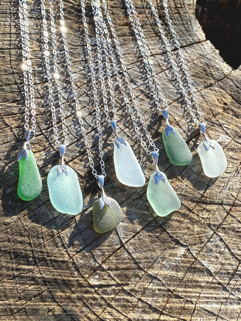 Mermaids Tail sea glass necklace  choice of green seafoam image 0