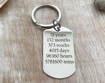 11 year anniversary gift  Custom engraved - personalize with name, initials or date - dog tag keychain - gift for husband - stocking stuffer