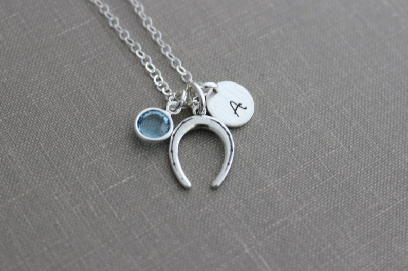 Sterling silver horseshoe charm necklace Personalized initial image 0