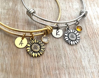 Sunflower charm bracelet - silver or gold stainless steel adjustable wire bangle - Swarovski crystal birthstone personalized initial disc