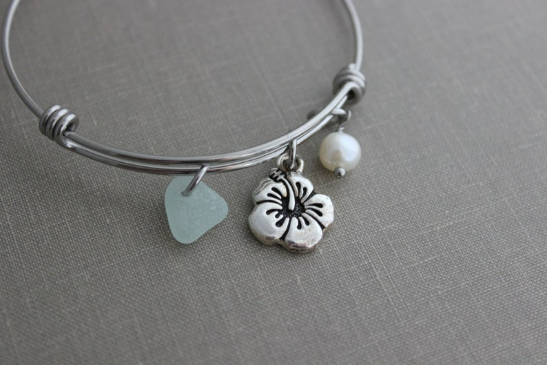 stainless steel adjustable beach bangle bracelet with pewter image 0
