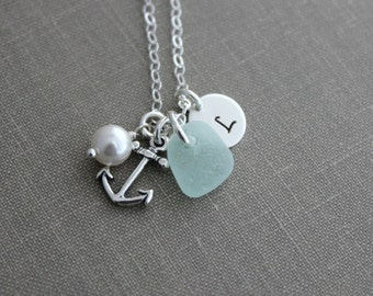 Genuine sea glass and Sterling silver Anchor Necklace, Personalized Charm Necklace Initial Charm, Swarovski crystal pearl, hand stamped