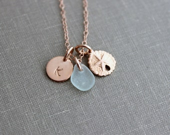 Rose Gold Filled Sand Dollar, Genuine Sea Glass and Initial Charm necklace, Wedding Bridesmaid Gift, Personalize, Pink Gold Filled