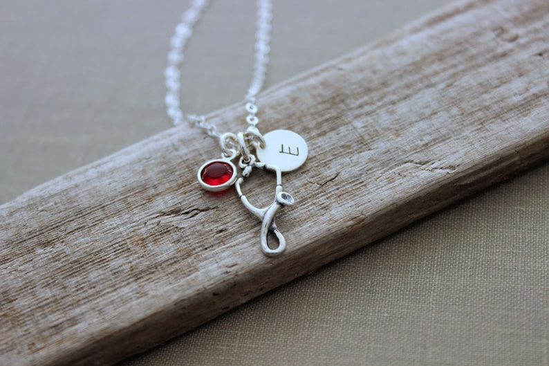 Sterling silver Stethoscope necklace  Nurse Jewelry  image 0