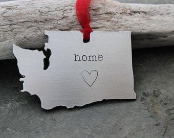 Washington State Ornament - Christmas Tree Ornament - Silver Aluminum - Home