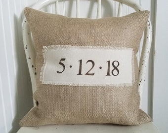 Wedding Date pillow / free shipping / date pillow / personalized gift / wedding engagement anniversary gift / burlap / canvas /