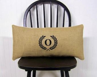 monogram pillow- laurel wreath pillow - burlap black lumbar embroidered monogrammed- personalized gift - burlap pillow