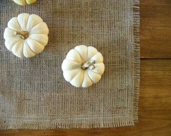 free shipping - burlap table runner - farm house - natural - rustic - fringed - holiday home decor - thanksgiving -