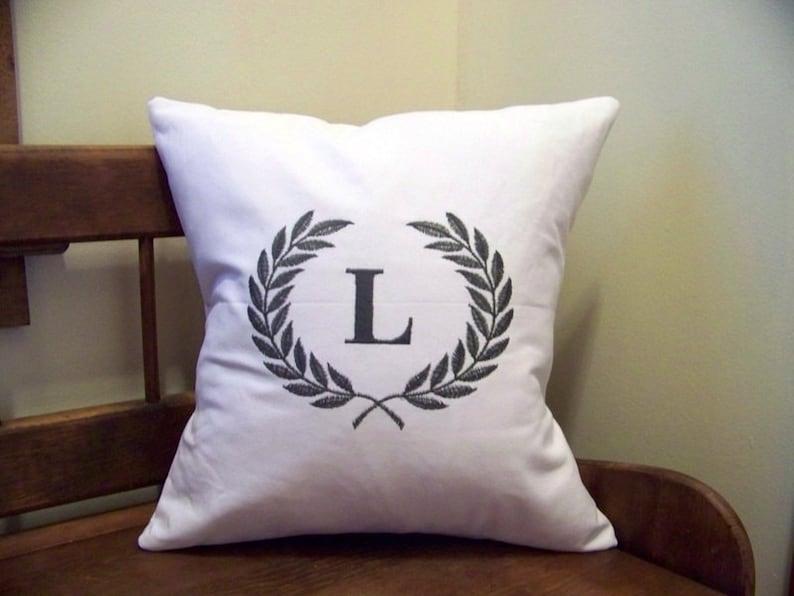 laurel wreath embroidered pillow  monogram  white canvas  image 0