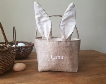 burlap bunny easter basket - embroidered - personalized - bunny ears - easter decoration - rabbit - spring
