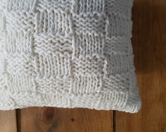free shipping basket weave knit pillow - knitted - cozy - warm - white - winter - cuddly - sweater pillow - home decor