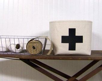 free shipping - swiss cross basket / black / canvas basket / home decor / organization / storage basket / gift basket / fabric basket /