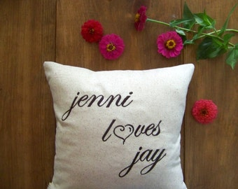 personalized love pillow / embroidered / custom / loves / heart / valentines day / v day / valentines gift / embroidery /