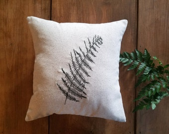 free shipping - embroidered fern pillow - spring summer home decor - leaf - embroidery - natural - nature - olive green