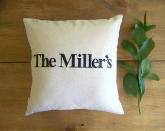 personalized name pillow - wedding - engagement - anniversary - housewarming - gift - embroidered - custom