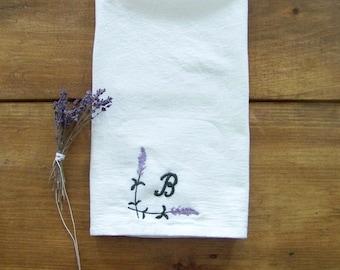 free shipping - monogram lavender tea towel / personalized / custom/ gift idea / spring home decor / flour sack towel / monogram / emb
