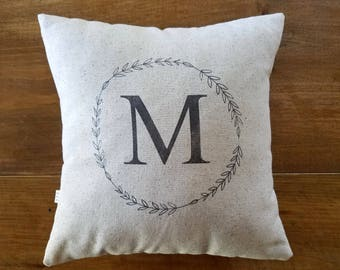 laurel wreath monogram pillow - monogrammed - personalized gift - custom - gray - vintage style - holiday home decor - cushion