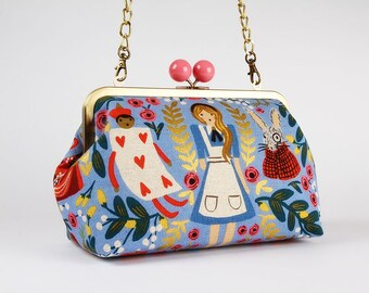 Metal frame purse with shoulder strap Color handbag  Japanese fabric  Clasp purse  Kisslock clutch Loving swans in sundance canvas