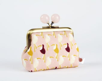 Mystical narwhal white Color dad  Katy Tanis  northern seas  pink yellow Metal frame coin purse with color bobble