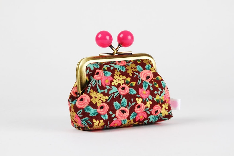 Color mum  japanese fabric  Rifle Paper Co  Kisslock change pouch Metal frame coin purse with color bobbles Rosa in burgundy metallic
