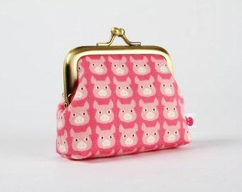 Deep mum - Cute pigs on pink - metal frame coin purse
