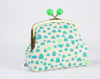 Metal frame clutch bag - Pebbles in green - Color bobble purse / Ellen Luckett Baker / Rough cut / teal neon green