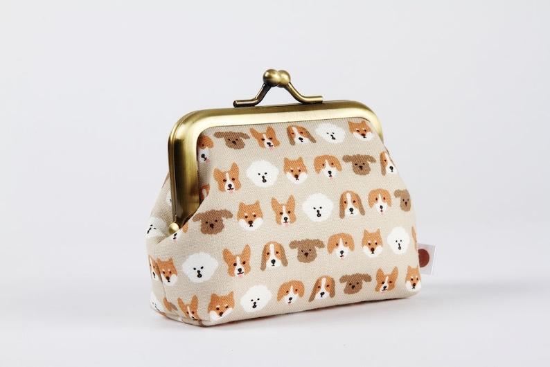 Big mum  Korean fabric  Kawaii dogs  gray beige brown white Tiny puppy faces Little kisslock purse